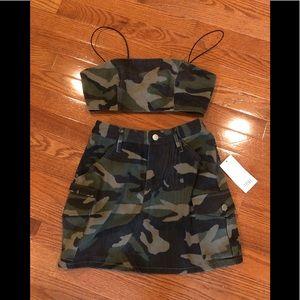 TOBI two piece army skirt set